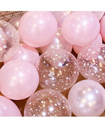 Balloon Junction Metallic PINK & Transparent STAR Print Balloons  - 50 Pieces