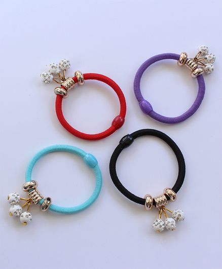 Milyra Pearl Detailed Set Of 4 Rubber Bands - Multi Colour
