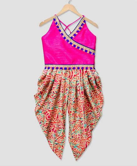 KID1 Tassels Lace Detailed Sleeveless Kurta & Dhoti Set - Pink