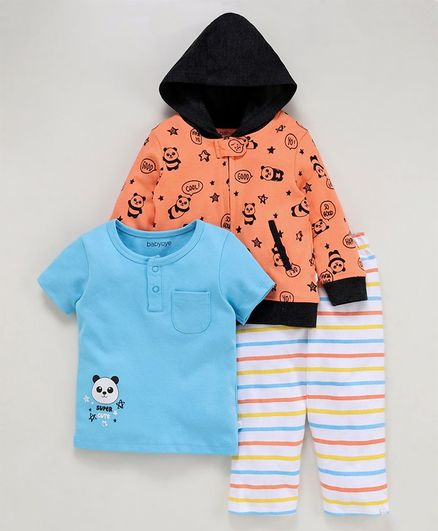 Babyoye Cotton Printed Top Hooded Jacket & Leggings - Light Orange