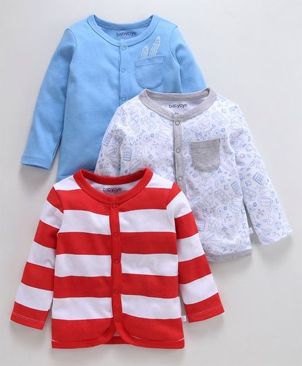 Babyoye Full Sleeves Cotton Vests Striped, Solid Color & Printed Pack of 3 - White Red Blue