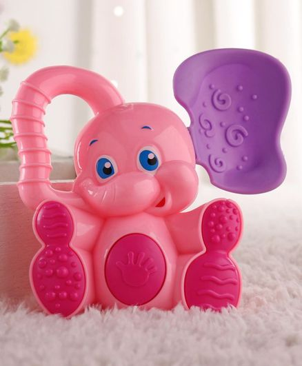 Babyhug Elephant Toy Rattle Pink - Length 12 cm