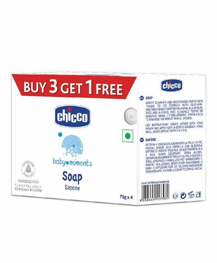 Chicco Baby Moments Soap Pack Of 4 - 75 gm