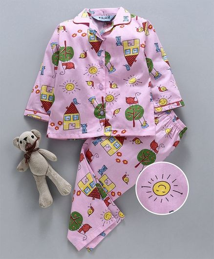Enfance Core Snail Print Full Sleeves Night Suit - Pink