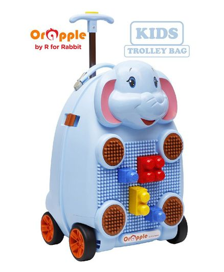 Orapple By R for Rabbit Trolley Luggage Bag With Building Blocks Elephant Design - Blue
