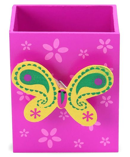 Wooden Pencil Stand With Paper Clip Holder Butterfly Design - Pink