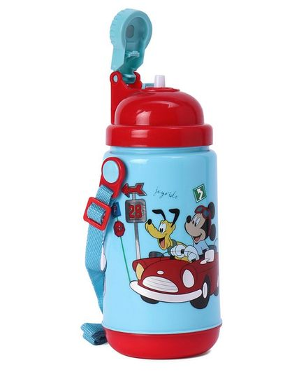 Disney Mickey Mouse Push Button Insulated Sipper Water Bottle Blue & Red - 500 ml