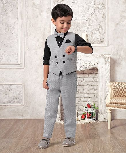 Babyhug 3 Piece Checked Party Suit With Bow - Black