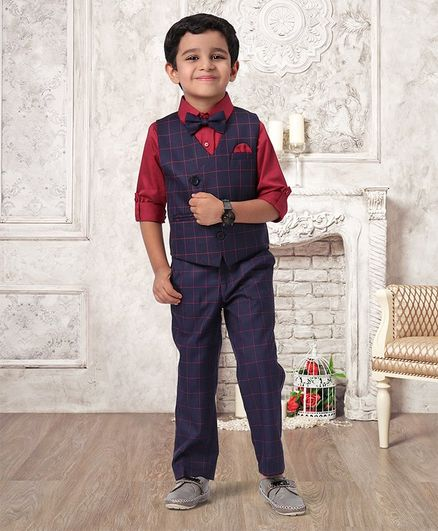 Babyhug 3 Piece Checked Party Suit With Bow - Navy Blue Red