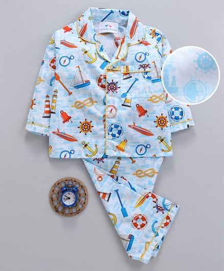 Knitting Doodles Ships & Anchor Print Full Sleeves Night Suit - White & Blue