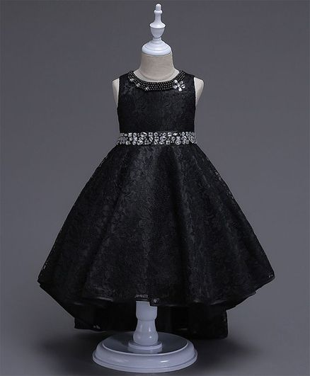 d28af61fa1e09 Buy Pre Order Awabox Sleeveless Floral Lace Work High Low Hem Style Dress  Black for Girls (8-9 Years) Online in India, Shop at FirstCry.com - 2861667