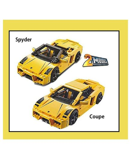 Emob 2 in 1 Racing Pacemaker King Steerer Car Model Building Blocks Set Toy Yellow - 741 Blocks