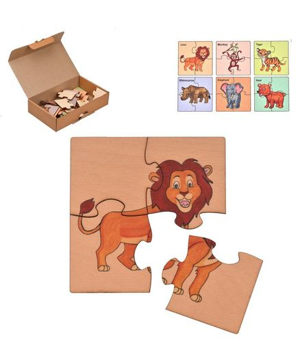 RK Cart Wild Animals Wooden Jigsaw  Puzzles Set Of 6 - Multicolour