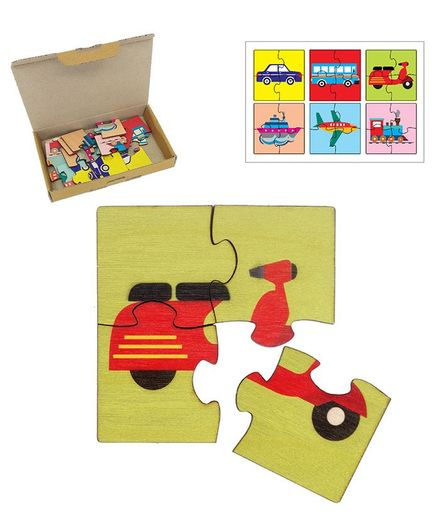 RK Cart Transport Vehicles Puzzles Set Of 6 - Red & Yellow