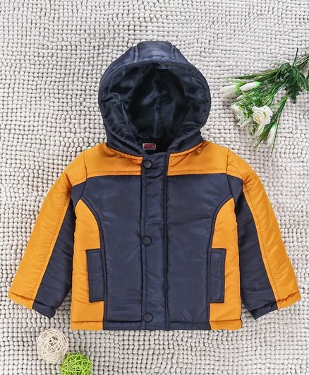 Babyhug Full Sleeves Hooded Winter Jacket - Yellow Navy Blue