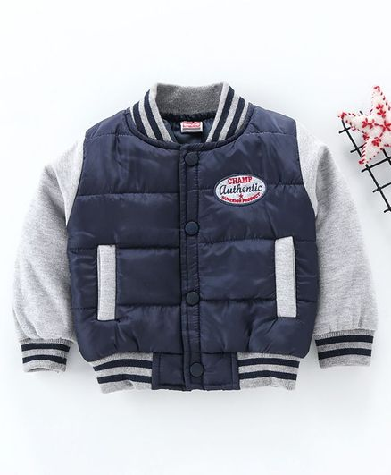 Babyhug Full Sleeves Padded Jacket - Grey Navy Blue