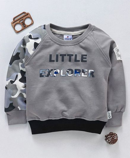 Ollypop Full Sleeves Winter Wear Pullover Little Explorer Print - Grey
