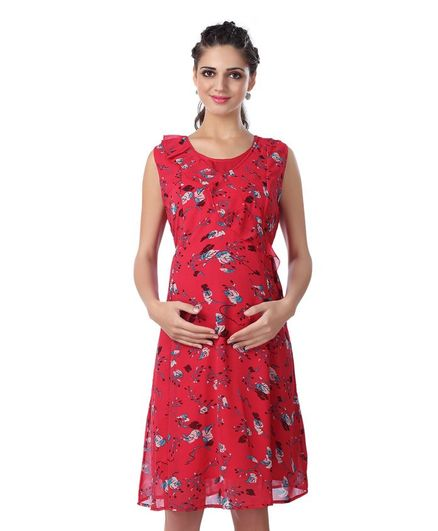 Kriti Sleeveless Floral Printed Maternity Dress - Red