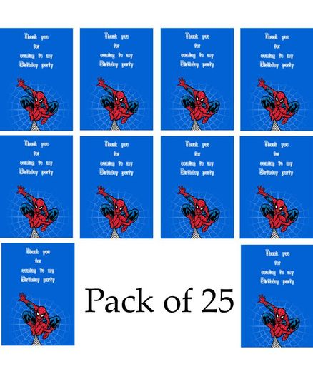 Funcart Spider Man Birthday Party Thank You Cards Blue - Pack of 25