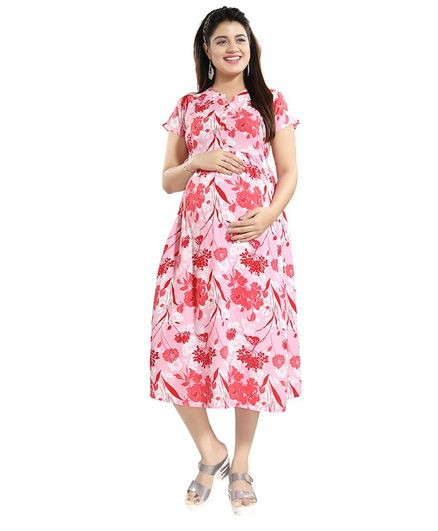 f60fbcd0b139b Mammas Maternity Flower Print Half Sleeves Maternity Dress Pink Online in  India, Buy at Best Price from Firstcry.com - 2870954