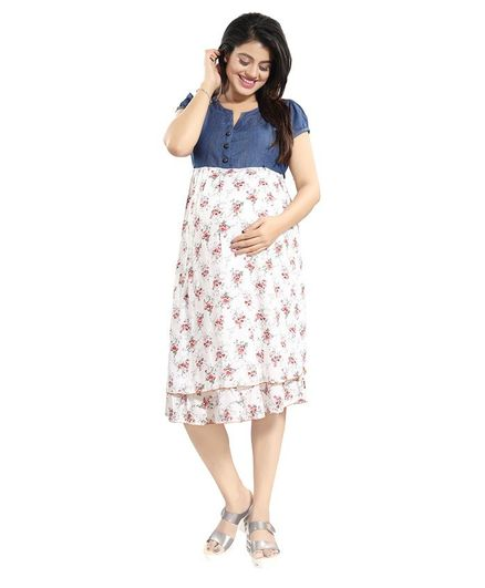 39dce8f8b3f7c Mammas Maternity Flower Print Short Sleeves Maternity Dress Blue Online in  India, Buy at Best Price from Firstcry.com - 2870977