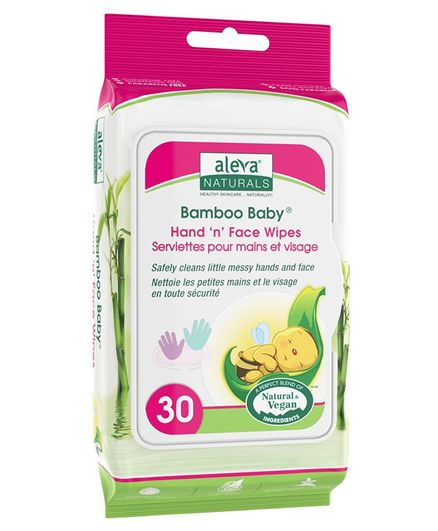 Aleva Naturals Bamboo Baby Hand & Face Wipes - 30 Pieces