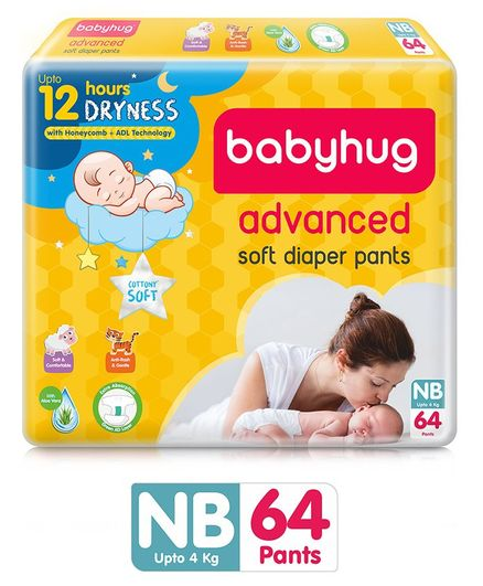 Babyhug Advanced Pant Style Diapers New Born - 64 Pieces