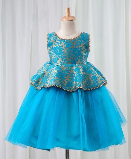 0989340aab Buy Li&Li Boutique Sleeveless Floral Brocade Peplum Dress Blue for ...