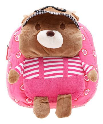 EZ Life Plush Backpack Teddy Design Pink - 11.8 inches