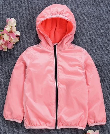 OVS Full Sleeves Hooded Solid Jacket - Light Pink