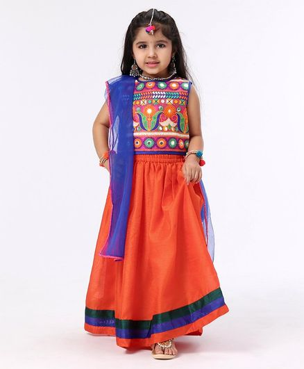 Babyhug Mirror Work Sleeveless Choli With Elasticated Lehenga & Dupatta - Orange