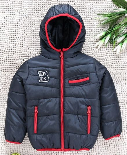 Babyhug Full Sleeves Hooded Jacket - Navy Blue