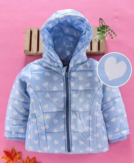 Babyhug Full Sleeves Hooded Padded Jacket Heart Print - Sky Blue