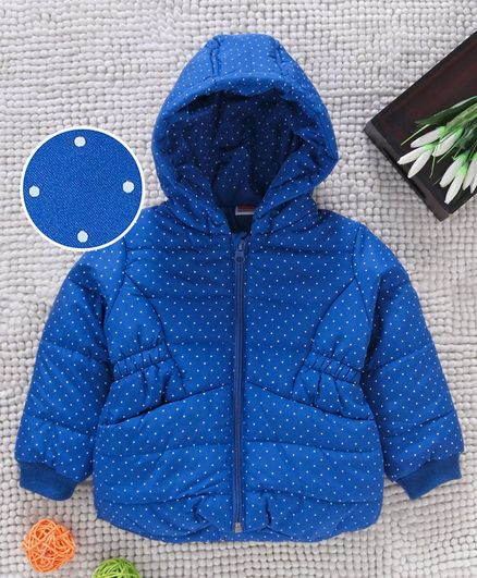 Babyhug Full Sleeves Hooded Padded Jacket Dot Print - Blue