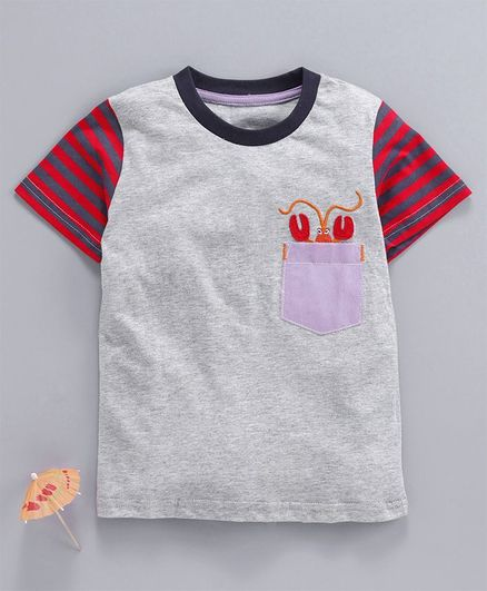 Kookie Kids Half Sleeves Tee Lobster Embroidery - Grey
