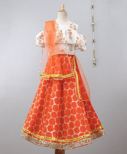 Pspeaches Half Sleeves Floral Print Cold Shoulder Choli With Lace Detailed Lehenga & Dupatta - Orange