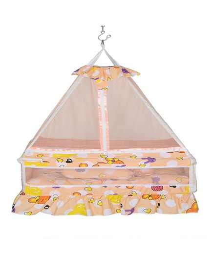 VParents Queen Baby Crib Cradle with Bed Pillow and Hanging Spring Orange - Design May Vary