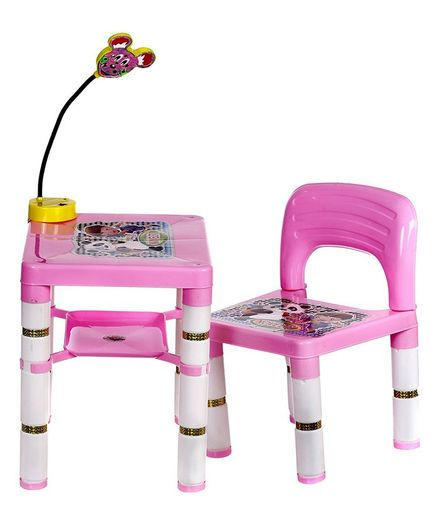 NHR Table Chair Set With LED Light - Pink