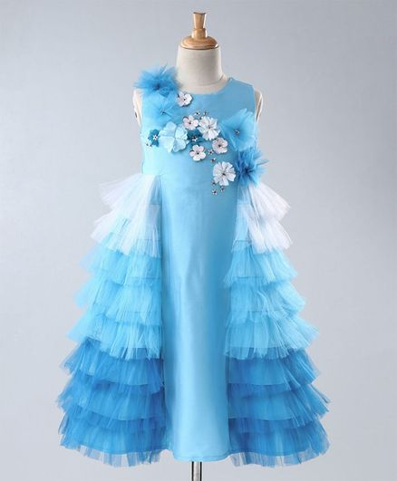 A Little Fable Flower Applique Side Sleeveless Side Ruffle Gown - Blue