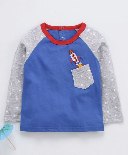 Kookie Kids Full Sleeves T-Shirt Space Rocket Embroidered - Grey Blue