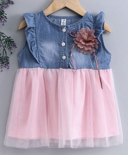 af5faaef855 Buy Kookie Kids Sleeveless Denim Frock Flower Applique Pink Blue for Girls  (18-24 Months) Online in India, Shop at FirstCry.com - 2889614