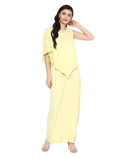 650b0a5fb870 9teenAGAIN Solid Diamond Stud Detailing Half Sleeves Maternity Dress -  Yellow