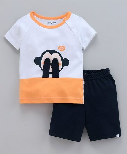 Babyoye Half Sleeves Top & Bottom Set Monkey Applique - White