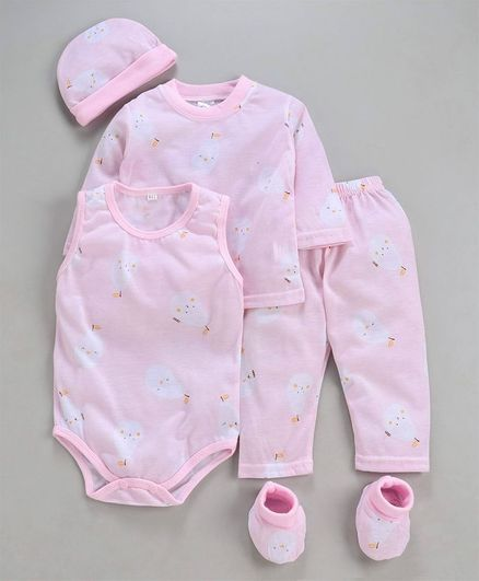 MFM 5 Piece Clothing Gift Set Allover Print - Light Pink