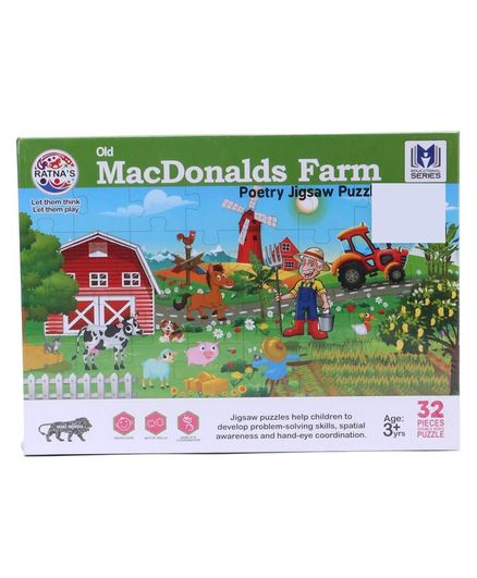 Ratnas Old Mac Donalds Farm Jigsaw Puzzle Multicolor 32 Pieces Online  India, Buy Puzzle Games & Toys for (3-10 Years) at FirstCry com - 2893883