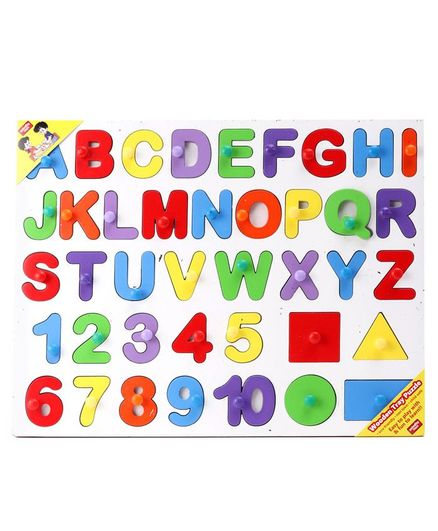 Anindita Wooden English Capital Alphabets With Numbers & Shapes Puzzle Multicolor - 40 Pieces