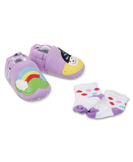 5c71d222e5 Buy Kittens Shoes Rainbow Patch Booties With Socks Purple for Girls (12-18  Months) Online, Shop at FirstCry.com - 2896710
