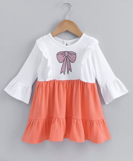 Babyoye Bell Sleeves Cotton Frock Bow Print - Orange White