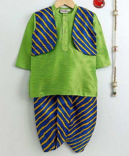 Bownbee Full Sleeves Kurta With Attached Leheriya Pattern Jacket & Dhoti Set - Blue