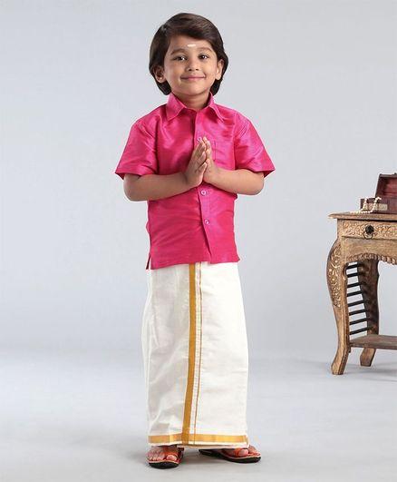 Ridokidz Solid Half Sleeves Shirt With Kasavu Mundu - Pink